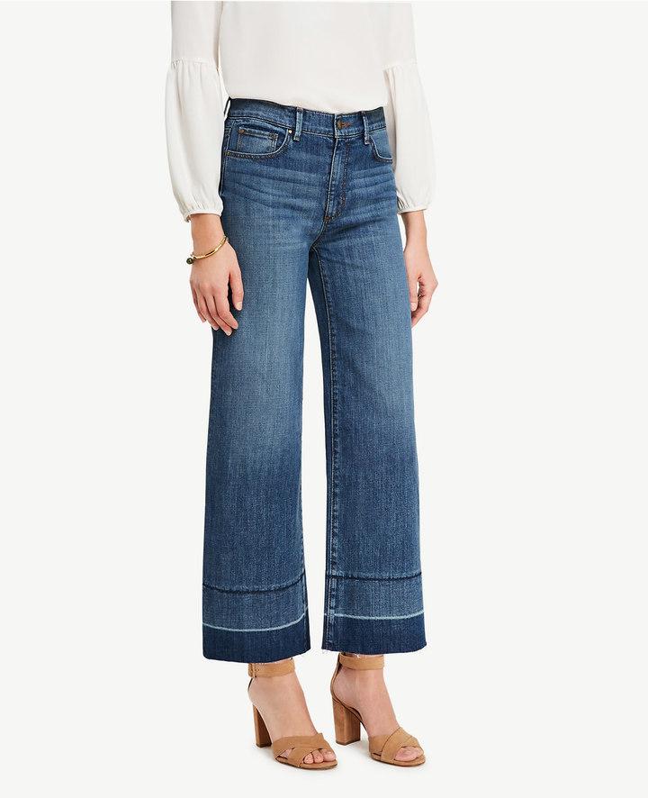 Ann TaylorPetite Raw Hem Wide Leg Crop Jeans