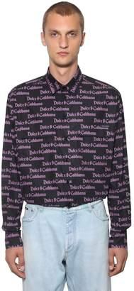 Dolce & Gabbana Gothic Logo Cotton Poplin Shirt