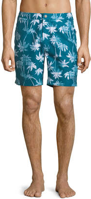 "Trunks Surf & Swim Co. Calder 7.5"" Denim-Palm Swim Shorts"