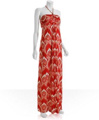 Tbags orange jersey paisley printed halter maxi dress