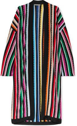 Mary Katrantzou Sola Striped Metallic Knitted Cardigan - Blue