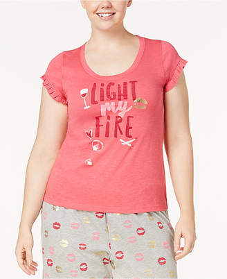 Hue Light My Fire Plus Size Ruffled-Sleeve Pajama Top