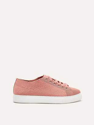 Wide Knit Lace-Up Sneakers