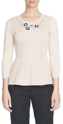 CeCe Embellished Neck Peplum Sweater $99 thestylecure.com