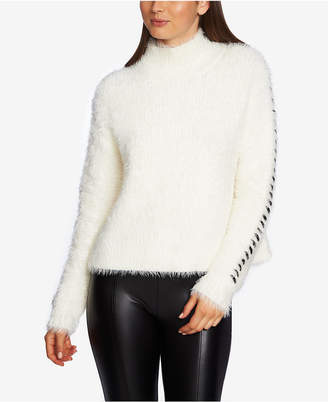 1 STATE 1.state Whipstitched-Sleeve Eyelash Sweater