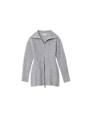 Tibi Tech Poly Sculpted Zip-Up Sweater Jacket