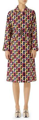 Gucci G Sequence Printed Silk Belted Coat