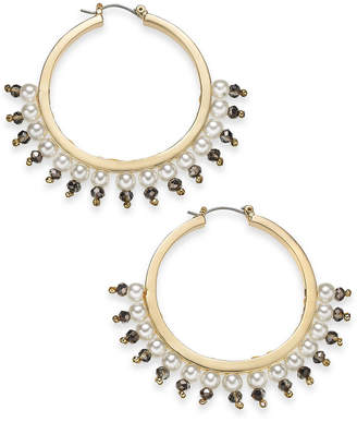 "INC International Concepts I.N.C. Large 1.6"" Gold-Tone Bead & Imitation Pearl Hoop Earrings, Created for Macy's"