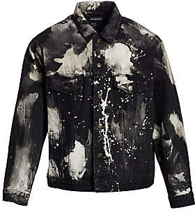 Balenciaga Men's Splattered Paint Denim Jacket