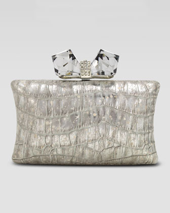 Judith Leiber Overture Vanessa Large Concave Clutch Bag, Silver