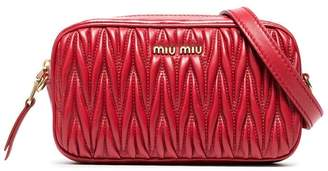 Miu Miu red matelassé leather belt bag