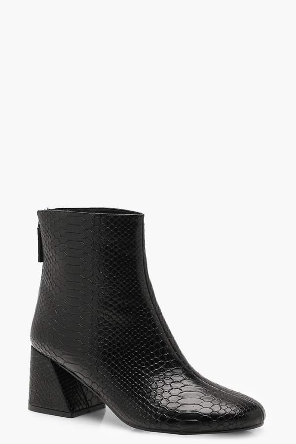 boohoo Croc Flared Heel Shoe Boots