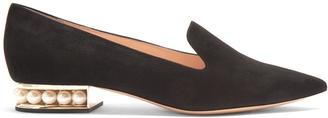 NICHOLAS KIRKWOOD Casati pearl-heeled suede loafers $695 thestylecure.com