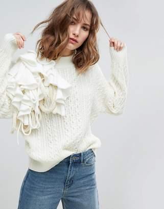 Asos Design Jumper With Oversized Frill Detail