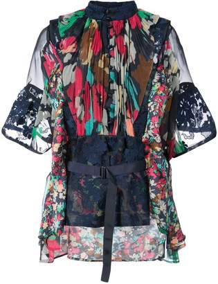 Sacai floral belted blouse