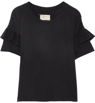 Current/Elliott - The Ruffle Roadie Distressed Cotton-jersey T-shirt - Black $130 thestylecure.com