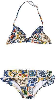 Dolce & Gabbana Maiolica Print Lycra Bikini