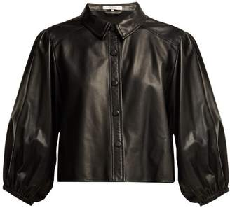 Ganni Blouson Sleeve Leather Shirt - Womens - Black