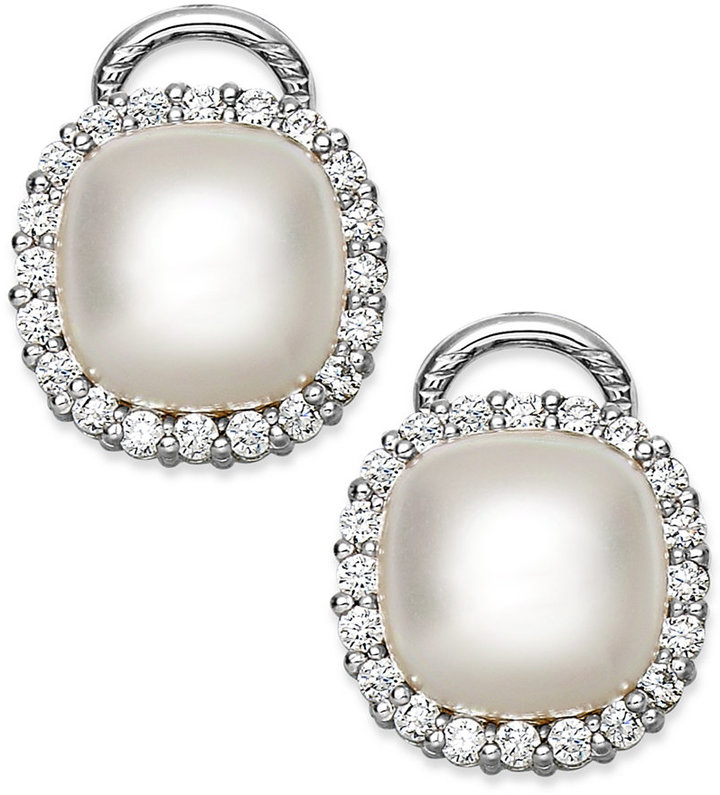 Majorica Sterling Silver Organic Man-Made Pearl and Cubic Zirconia Stud Earrings