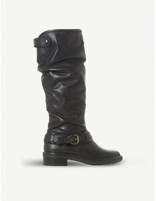Dune Torlie ruched leather knee-high boots