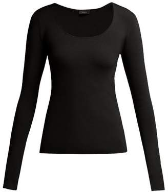 Joseph Scoop Neck Stretch Silk Blend Top - Womens - Black