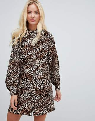 Fashion Union high neck shirt dress in leopard