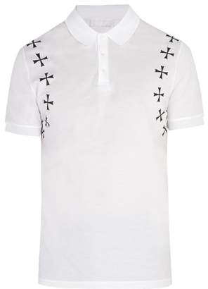 Neil Barrett - Military Star Appliqué Cotton Polo Shirt - Mens - White Black