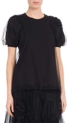 Simone Rocha Short-Sleeve Ruched Flower Tulle Blouse