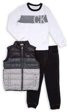 Calvin Klein Jeans Little Boy's Three Piece Ombre Vest Set