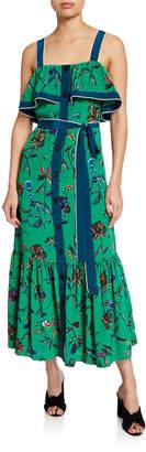 Derek Lam 10 Crosby Ruffle Cami Button-Front Maxi Dress