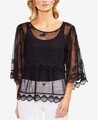 Vince Camuto Scalloped Angel-Sleeve Mesh Blouse
