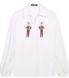 Dolce & Gabbana Appliqued Silk-charmeuse Shirt