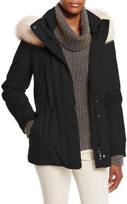 Loro Piana Storm System Fox-Trim Cashmere Coat