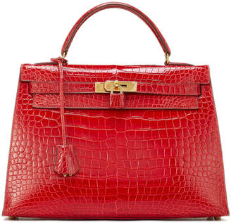 Hermes Kelly 32 Crocodile Satchel Bag, Red