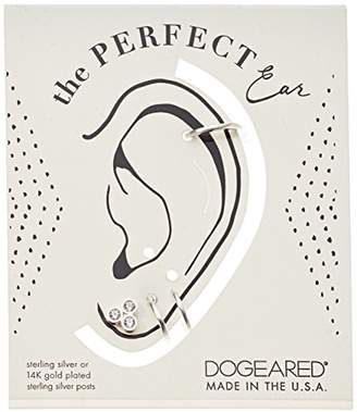 Dogeared Sterling The Perfect Ear Pack Of 3 Single Earring Set- Stud/Double Loop/Smooth Cuff