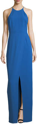 Halston Cutout Evening Gown w/ Smocking Detail