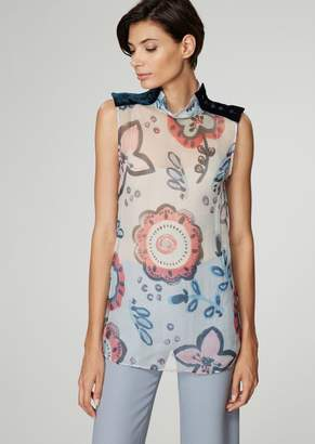 Giorgio Armani Top With A High Collar In Floral Printed Crepe With Corduroy Epaulettes