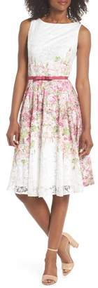Gabby Skye Belted Floral Lace Fit & Flare Dress