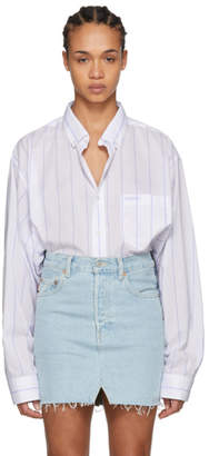 Vetements White and Blue Stripe Oversized Shirt