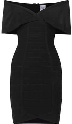 Herve Leger Off-the-shoulder Bandage Mini Dress - Black
