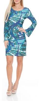 White Mark Women's Colored Venetian Printed Dress