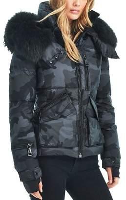 SAM. Camo Fur Trim Jetset Down Jacket