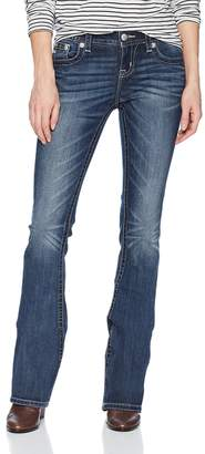 Miss Me Junior's Mid-Rise Stretch Boot Cut Jeans with Star Back Pockets
