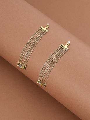 Shein 1pair Chain Tassel Multi Colored Bead Earrings