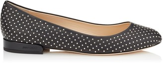Jimmy Choo JESSIE FLAT Black Nappa Leather Round Toe Pumps with Silver Micro Studs