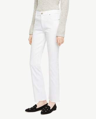 Ann Taylor Frayed Crop Jeans in White