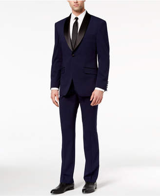Perry Ellis Men Slim-Fit Stretch Navy Shawl-Collar Tuxedo