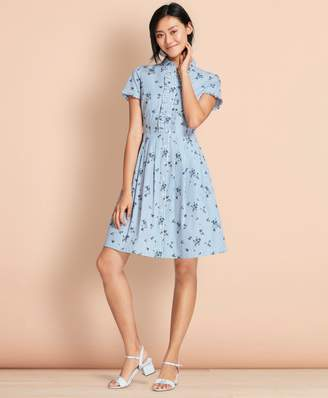 Brooks Brothers Floral-Print Striped Cotton Poplin Shirt Dress