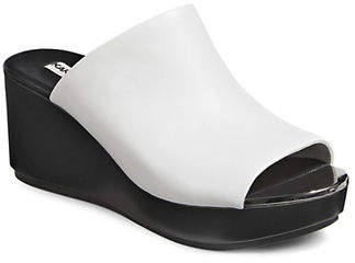Karl Lagerfeld PARIS Lyric Leather Wedge Sandals