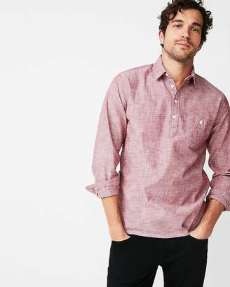 Express Slim Cotton Popover Shirt